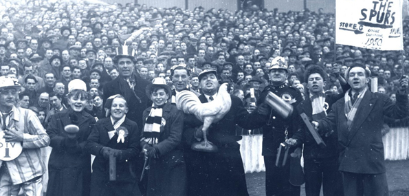 Spurs fans in the 1950s celebrating becoming champions