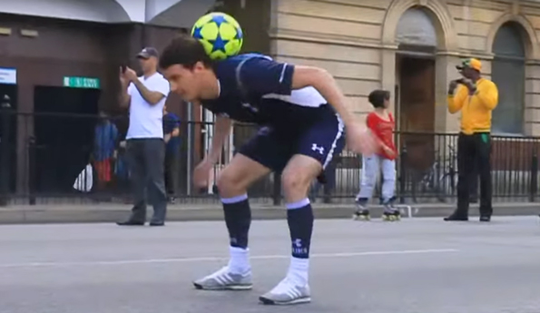 Freestyler Billy Wingrove performing for the 'Everybody Dreams' song for Tottenham flashmob video