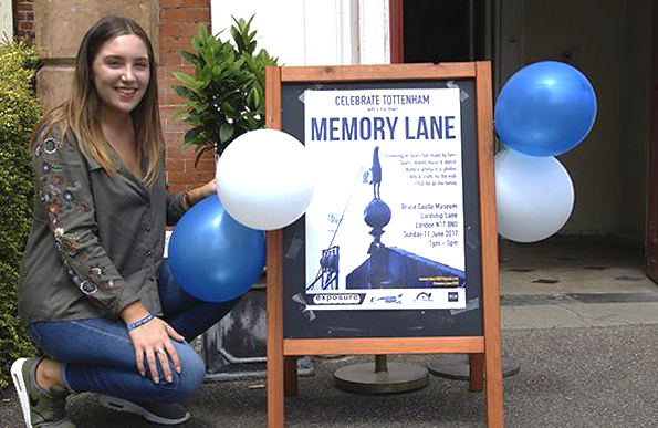 The Memory Lane poster in front of Bruce castle park Museum with balloons